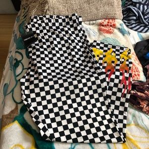 Forever 21 Plus Checkered with Flames Leggings